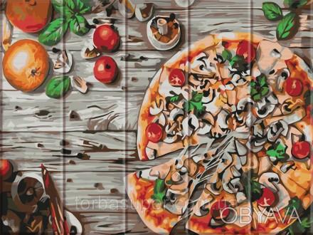 """Картина по номерам на дереве """"Пицца"""" (размер 30*40см) станет прекрасным украшени. Днепр, Днепропетровская область. фото 1"""