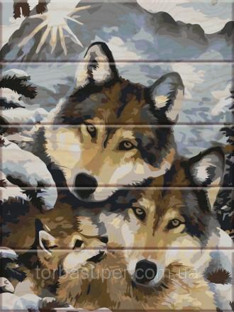 """Картина по номерам на дереве """"Волки"""" (размер 30*40см) станет прекрасным украшени. Днепр, Днепропетровская область. фото 2"""