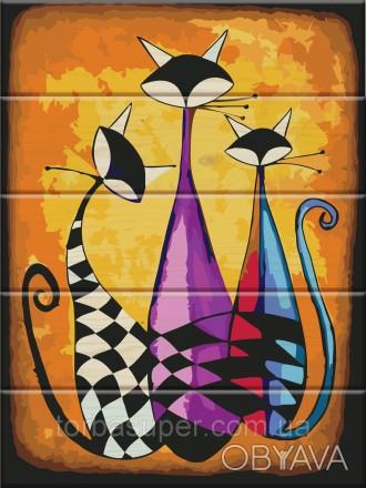"""Картина по номерам на дереве """"Три кота"""" (размер 30*40см) станет прекрасным украш. Днепр, Днепропетровская область. фото 1"""