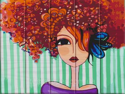 """Картина по номерам на дереве """"Рыжая"""" (размер 30*40см) станет прекрасным украшени. Днепр, Днепропетровская область. фото 2"""
