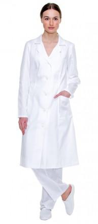 Халат медицинский женский из белой саржи. Киев. фото 1
