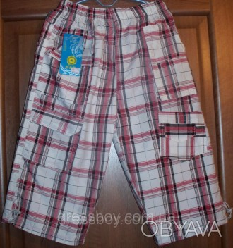Бриджи для мальчиков. Модель из хлопковой ткани в светлых оттенках. Пояс на рези. Запоріжжя, Запорожская область. фото 1