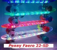 Скейт Penny Board 22-SD прозрачная светящаяся дека пенни лонгборд Cruiser Fish L. Киев, Киевская область. фото 2