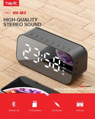 Часы Колонка bluetooth FM радио AUX micro SD будильник Havit Термометр. Киев. фото 1