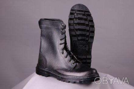 Ботинки с высокими берцами кожаные, хромовые, мужские