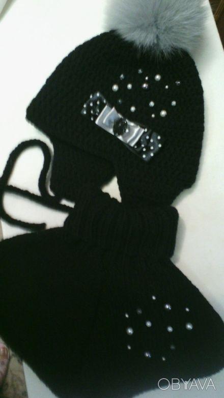 Продам шикарный НОВЫЙ наборчик- шапочка и шарфику. Ручная вязкая. Мягкий и тёплы. Кривой Рог, Днепропетровская область. фото 1