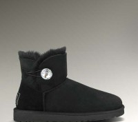 Женские угги UGG Bailey Button Mini Bling Black. Киев. фото 1