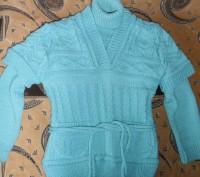 Водолазка с жилеткой на девочку 6-7 лет бирюзового цвета. Тёплые. Состояние отли. Кривой Рог, Днепропетровская область. фото 2