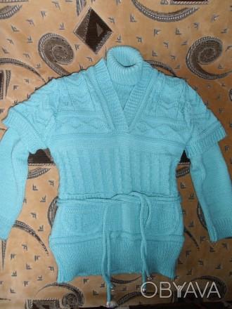 Водолазка с жилеткой на девочку 6-7 лет бирюзового цвета. Тёплые. Состояние отли. Кривой Рог, Днепропетровская область. фото 1