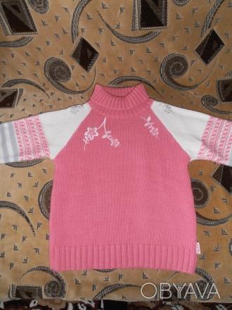 Тёплый свитер на девочку 6-7 лет, 40% шерсти. В хорошем состоянии. Длина изделия. Кривой Рог, Днепропетровская область. фото 1