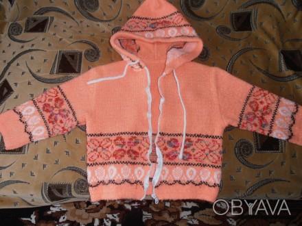 Тёплая кофточка на молнии оранжевого цвета на девочку 4-5 лет. В хорошем состоян. Кривий Ріг, Дніпропетровська область. фото 1