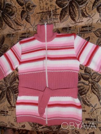 Тёплая кофточка (30% шерсти) для девочки 6-7 лет. Состояние идеальное. Длина изд. Кривой Рог, Днепропетровская область. фото 1