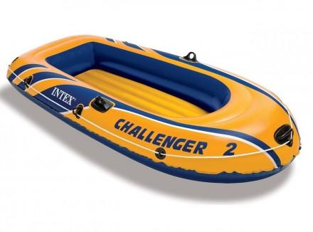 Двухместная надувная лодка Intex 68367 Challenger 2 Set с веслами и насосом (236. Харьков. фото 1