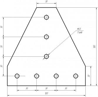 Алюмінієвий елементи пластина Т-образна для профілю 30х30. 7-м отворів для кріпл. Львов, Львовская область. фото 3