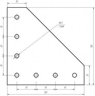 Алюмінієвий кутовий елемент, пластина для профілю 30х30. 7-м отворів для кріплен. Львов, Львовская область. фото 3