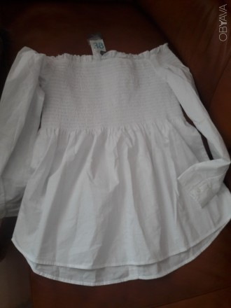 Нова бІла блуза з оголеними плечима.Оригінальний фасон. Розмір 38. З магазину Pr. Ковель, Волынская область. фото 5