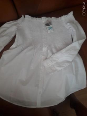 Нова бІла блуза з оголеними плечима.Оригінальний фасон. Розмір 38. З магазину Pr. Ковель, Волынская область. фото 1