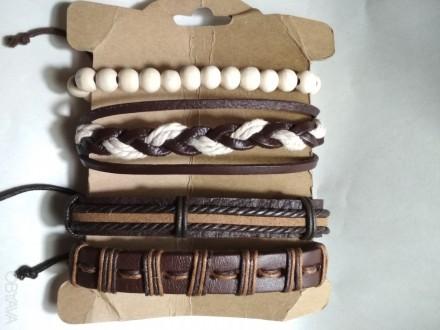 Супер классные, красивые кожаные браслеты, новые -прекрасный аксессуар к дополне. Одесса, Одесская область. фото 1