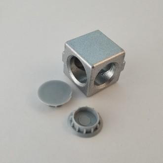 Кутовий з'єднувач куб на дві сторони, профіль 20, сірий. Львов. фото 1