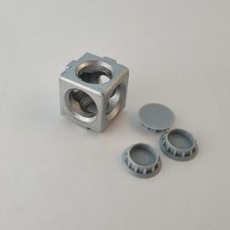 Кутовий з'єднувач куб на три сторони, профіль 20, сірий. Львов. фото 1