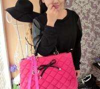 Большая стильная осенняя женская розовая сумка из текстиля стеганной текстуры  . Запорожье, Запорожская область. фото 4