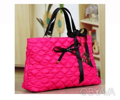 Большая стильная осенняя женская розовая сумка из текстиля стеганной текстуры  . Запорожье, Запорожская область. фото 1