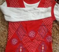 Модель П-3. Красная кофта-двойка (обманка). Цельная, выглядит как двойка с жилет. Киев, Киевская область. фото 3