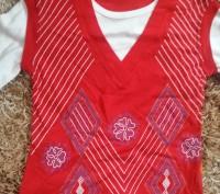 Модель П-3. Красная кофта-двойка (обманка). Цельная, выглядит как двойка с жилет. Киев, Киевская область. фото 2