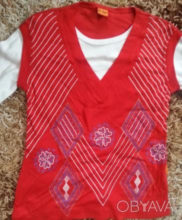 Модель П-3. Красная кофта-двойка (обманка). Цельная, выглядит как двойка с жилет. Киев, Киевская область. фото 1