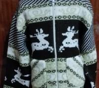 """Модель К-7. Очень теплая кофта """"Олени"""", двойная вязка. На молнии, с капюшоном, п. Київ, Київська область. фото 2"""