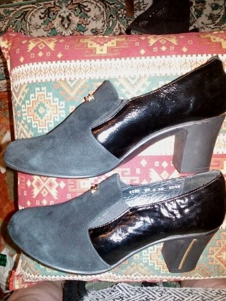 Туфли женские, замша плюс кожа,черного цвета.. Чернигов. фото 1