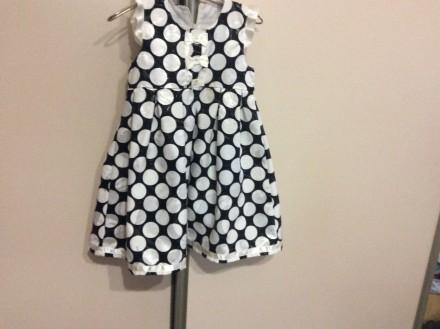 Нарядное летнее платье в белый горох размер 98 см. Львов. фото 1