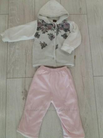 Тёплые, велюровые костюмы для девочек р 9 мес и 12 мес. Одеса. фото 1