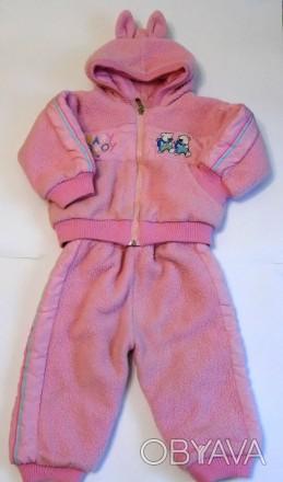 Яркий розовый костюм на маленькую принцессу. Теплые курточка и брючки. На капюшо. Запорожье, Запорожская область. фото 1