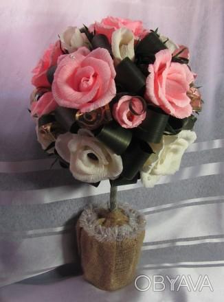 Конфетный букет Топиарий  - это букет сюрприз,в каждом цветочке конфета (шоколад. Запорожье, Запорожская область. фото 1