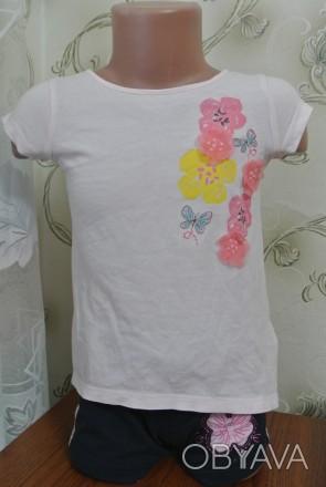 "Светло-розовая футболочка ""Savannah"". Украшены цветочками из материала и паеток.. Запоріжжя, Запорізька область. фото 1"