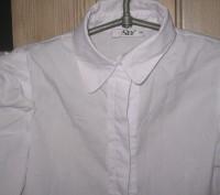 Блузка для школы, тип-рубашечный. Размер -140,цвет-белый, ткань рубашечная 100% . Житомир, Житомирская область. фото 2