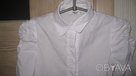Блузка для школы, тип-рубашечный. Размер -140,цвет-белый, ткань рубашечная 100% . Житомир, Житомирская область. фото 1