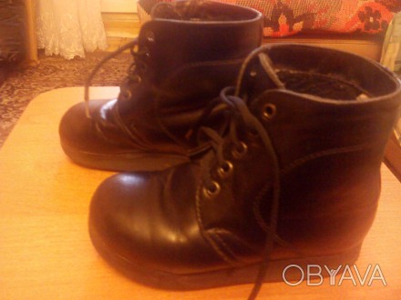 Продам ботинки ортопедические кожаные чёрного цвета утеплённые. Изготавливали на. Запорожье, Запорожская область. фото 1