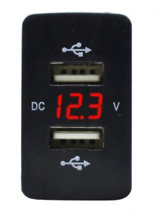 DC 12-24 V двойной USB порт авто зарядное устройство. Ровно. фото 1