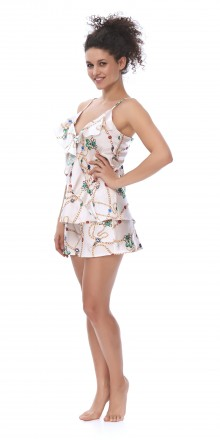 Пижама женская атласная с цветочным принтом. Киев. фото 1