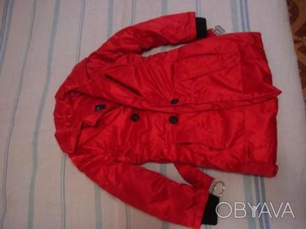 Пальто красное демисезонное, утепленное. Рост 110, длина рукава - 42 см. Запорожье, Запорожская область. фото 1