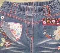 джинсы для девочки 7-8 лет с аппликациями в отличном состоянии. Длина изделия -7. Житомир, Житомирская область. фото 3