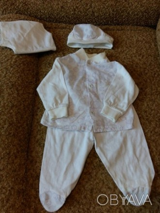 Продам для новорожденных белый трикотажный костюм комбинированный с ботистовыми . Запоріжжя, Запорізька область. фото 1
