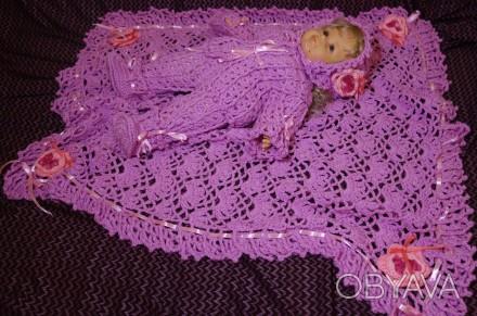 Очень нежный, тёплый и уютный комплект для новорожденного. Выполнен из мягкой пр. Запоріжжя, Запорізька область. фото 1