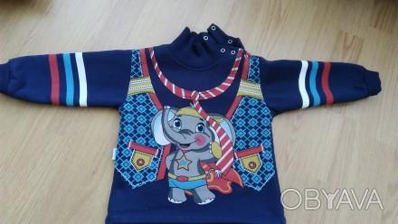 Синий теплый свитер 2-3 года на байке. Очень теплый, мягкий, приятный к телу. За. Киев, Киевская область. фото 1