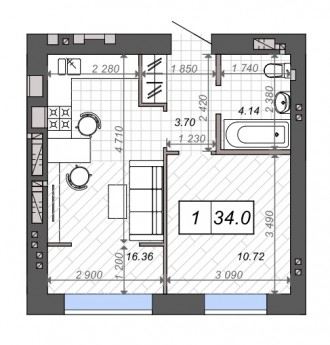 ЖК Новые Метры Park!  Просторная 1-ком. квартира площадью 34 м2.  Удобная план. Ирпень, Киевская область. фото 3