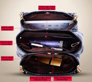 Материал экологическая кожа Сумка имеет три отдела и 3 кармана, один из которых . Запорожье, Запорожская область. фото 6