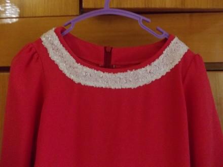 Платье детское бардовое на 8-10 лет подюбник,на молнии от пояса,общая длинна 64с. Полтава, Полтавская область. фото 4