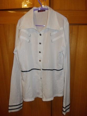 Блузка рубашка детская на лет 10-12 белая на кнопках,плечи-39см,пог-45см..длинна. Полтава, Полтавская область. фото 3